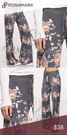 "Grey and Peach Floral Lounge Pants MADE IN USA- This gorgeous French Terry drawstring floral lounge pants are perfect for spring days and summer nights! Features super comfy fabric and gorgeous peach colored flowers on top a charcoal color. Fits true to size S(2-4) M(6-8) L(10-12) apprx inseam: 32"" HAVE THE MATCHING SWEATSHIRT IN MY CLOSET TOO!  ValMarie Boutique Pants"