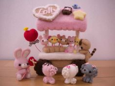 pretty needle felted candy cart