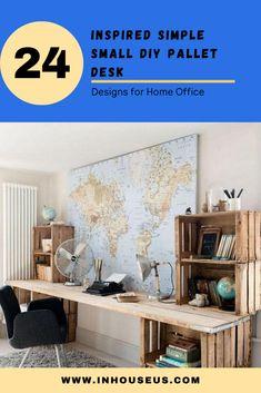 24 Inspired Simple Small DIY Pallet Desk Designs for Home Office #diypallet #diypalletdesk Pallet Desk, Diy Pallet, Chic Desk, House Entrance, Wooden Pallets, Industrial Chic, Home Office, Woodworking, House Design