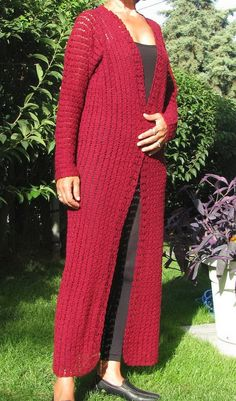 long cardigan lace cardigan. burgundy color by knittingwomen