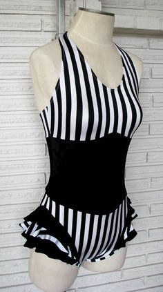 The black and white vertical stripe aerial costume is made to look like a ruffled leotard with corset over the top. The print is spandex with black stretch velvet corset. It features a v-ed halter top, high back coverage, and boy cut legs. The spa. Custom Dance Costumes, Corset Costumes, Aerial Dance, Aerial Silks, Vintage Circus, Aerial Costume, Pullover Shirt, Circus Costume, Costume Collection