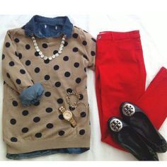 Polka dots and red pants - cute... But.. I have the same sweater in white and I'd do black pants... Ain't gonna be caught dead in red