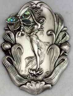 "Large Stamped Brass Art Nouveau Woman ""HOLDING ABALONE DRAGONFLY""~ Button~2 1/2"" 