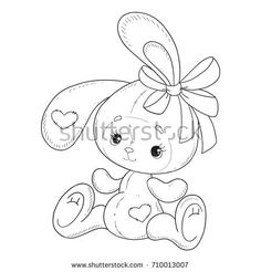 The Bunny coloring book. Bunny with a bow. Contour on a white background. Cartoon Monkey, Cartoon Pics, Cute Cartoon, Cute Coloring Pages, Coloring Books, Bow Drawing, Baby Animal Drawings, Twins 1st Birthdays, Easter Colouring