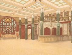 Patten Wilson, Design for a public library reading room, 1903