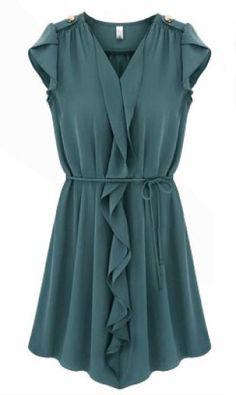 Dark+Blue+Sleeveless+Ruffles+Drawstring+Pleated+Dress+13.67