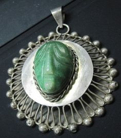 TAXCO PENDANT BROOCH STERLING SILVER 35 gr CARVED FACE starts $79