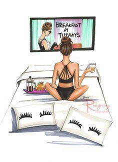 Breakfast at Tiffany's fashion illustration wall art by Rongrong DeVoe. More fashion wall art at www.rongrongillustration.etsy.com. #fashionillustration #fashionart #rongrongdevoe