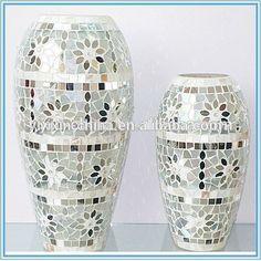 Mosaic Tile Art, Mosaic Vase, Mosaic Flower Pots, Mirror Mosaic, Mosaic Diy, Mosaic Crafts, Mirror Art, Diy Mirror, Glass Floor Vase