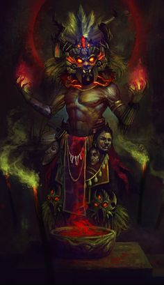 "fantasy men of color; Witch Doctor says: ""Bones never lie! black folk in fantasy; Witch Doctor, Design Spartan, Aztec Culture, Aztec Warrior, Inka, Aztec Art, Twilight Princess, Art Plastique, Illustrations"