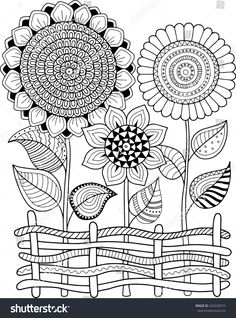 Coloring book for adult, for meditation and relax. Vector sunflowers