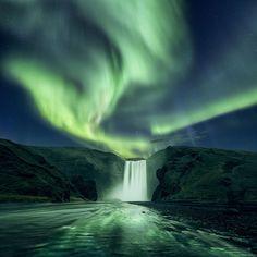 Skogafoss aurora by Mads Peter Iversen on 500px