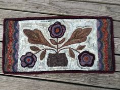 Hand Made Primitive Style Rug Runner Three Flower Design Great Cool Wool Colors | eBay