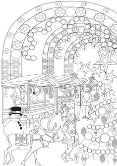 Antistress noel coloring page Coloring Pages Winter, Blank Coloring Pages, Free Adult Coloring Pages, Christmas Coloring Pages, Animal Coloring Pages, Coloring Books, Doodle Coloring, Theme Noel, Christmas Drawing