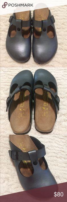 Birkenstocks papillo sandal clogs size 37 Birkenstocks papillio clogs. Metallic gray color. Like new condition. Size 37. Please see sizing chart. Birkenstock Shoes Mules & Clogs