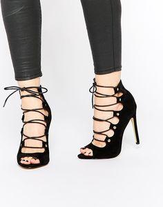 45dd17f1f7cb21 Public Desire Romana Black Ghillie Lace Up Heeled Sandals