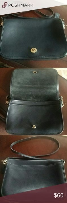 """Coach Legacy Convertible Clutch Crossbody Great vintage condition cleaned, conditioned, and shined 9635 bag. Easily converts into a clutch by unhooking strap. Inside zip pocket with a slip pocket underneath flap. Made in USA. Thick black natural glove tanned cowhide leather made to last. Brass hardware with turnlock front closure. Includes hangtag  Measures: 11"""" Length x 3"""" Width x 7"""" Height                    20"""" Max Strap Drop                    45"""" Length Strap Coach Bags Crossbody Bags"""