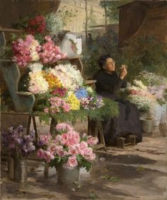 The flower merchant by Victor Gabriel Gilbert. What a lovely painting. Gabriel, Flowers For Sale, French Flowers, Victorian Art, Art Themes, Flower Market, Belle Epoque, Art Market, Beautiful Paintings
