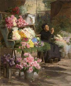 Victor Gabriel Gilbert (French, 1847-1933) La marchande de fleurs. Oil on canvas. n/d