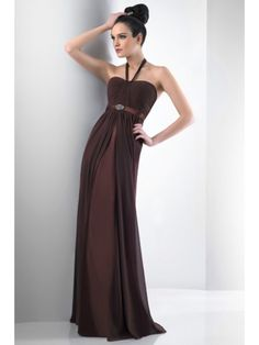 Sheath / Column Halter Floor Length Chiffon Bridesmaid / Wedding Guest Dresses 501035