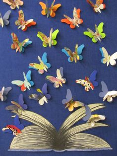A twist on another bulletin board...we made the butterflies using books we had weeded from the collection! The kids loved to try and figure out which book it was from! We titled it Reading gives you wings...Thank you Susanne (my TA) for taking my idea and running with it!