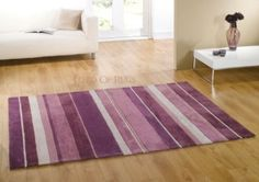 "Amazon.com: Runner Aubergine Colour Heavy Weight Rug Modern Stripe Design Carpet 60 x 220 cm (2' x 7'3""): Home & Kitchen"
