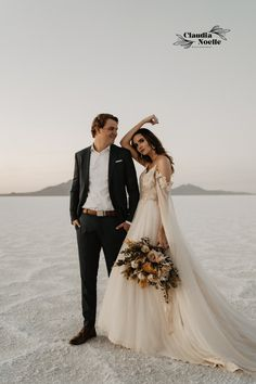 Loved this Utah Bonneville Salt Flats elopement, including sunset bridal portraits, elegant bridal gown, destination elopement photography, golden hour photos, intimate wedding photography, and more! for bookings & inquiries - Claudia Noelle Photography, Seattle Based Elopement Photographer Creative Couples Photography, Bridal Photography, Couple Photography, Bridal Session, Bridal Shoot, Bridal Gowns, Wedding Dresses, Engagement Couple, Engagement Shoots