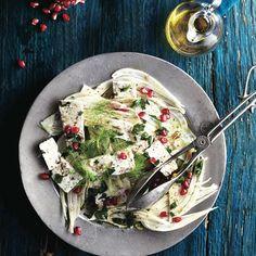 Ottolenghi's Fennel And Feta Salad With Pomegranate Feta Salad, Salad Bar, Side Salad, Nigella, Healthy Chef, Healthy Recipes, Savoury Recipes, Healthy Salads, Healthy Foods