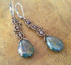 Long green beaded earrings green earrings by AmyKanarekDesigns