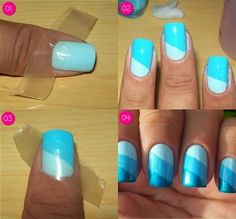 nails -                                                      DIY Easy Nail Art Ideas - Just Need Tape! What a great idea:)