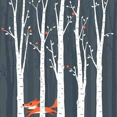 'Fox running in the woods' by bicone