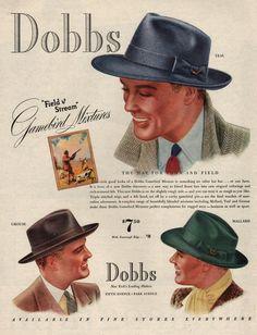 1939 Dobbs Men's Hat print ad Gamebird Field & Stream by Vividiom, $9.00