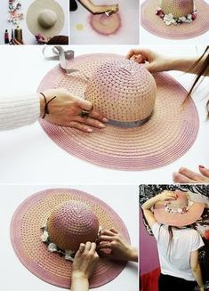 15 Best Sun Hat Refasion Tutorials for Women - Hat For Women - Ideas of Hat For Women - DIY Pink Floral Hat. This vintage pink floral hat is very easy to make. See the step by step here. Tea Hats, Tea Party Hats, Vintage Pink, Sun Hats For Women, Women Hat, Crochet Summer Hats, Painted Hats, Hat Decoration, Spring Hats