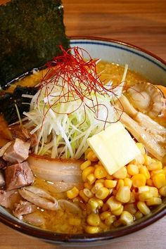 Traditional Sapporo-Style MISO Ramen Noodles Soup (Pork, Scallop, Negi Onion, Corn and Butter Cube)