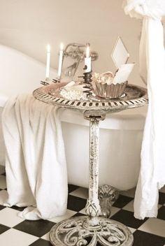 A Wonderful Shabby Idea….An Old Iron Birdbath as a Tub Side Table!