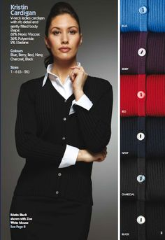 Kristin Cardigan,full brochure can be downloaded here http://www.workuniformsdirect.com/businesswear  #workuniformsdirect #uniform #corporate #business #fashion