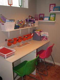 Cute organization for a kids craft room. craft desk with storage ikea white kids desk craft desk with storage ikea Kids Desk Organization, Desk Storage, Storage Ideas, Organizing Ideas, Kid Desk, Art Desk For Kids, Kids Study, Toy Rooms, Craft Rooms