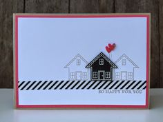 Bij Margriet Creatief: Stampin Up, You Brighten My Day and Washi Tape. Welcome Home Cards, New Home Cards, Christmas Greeting Cards, Greeting Cards Handmade, Happy New Home, Washi Tape Cards, Card Sketches, Scrapbook Cards, Homemade Cards