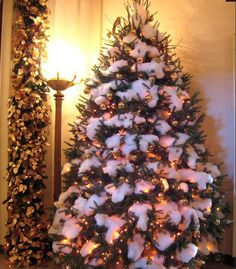 gold ornament tree with winter white snow dacron and fake snow combo