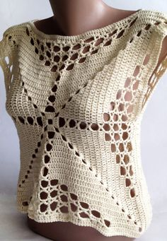 Crochet crop top/ Halter summer top/ Bohemia Top/ by ElenaVorobey