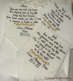 Three Embroidered Wedding hankerchiefs Canyon by CanyonEmbroidery, $69.50