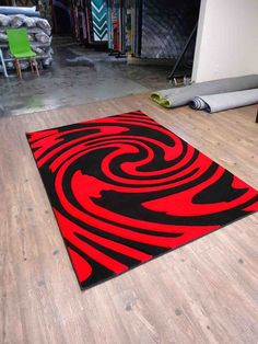 Black Red Area Rug
