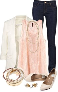 """""""Lace & Pearls"""". Love the white blazer too"""