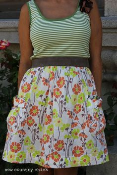 sew shirt and a skirt to thick elastic! Easy Tank Dress