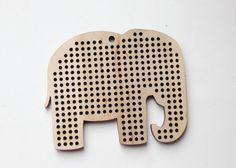 SET OF 5 Elephant Cross stitch pendant blank by ukrainianwoods