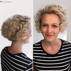 Nape-Length Blonde Curly Bob Blonde Curly Bob, Blonde Curls, Short Curly Bob, Blond Bob, Long Curly, Curly Girl, Curly Hair Cuts, Short Hair Cuts, Curly Hair Styles