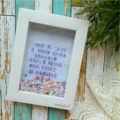 """Our 1st baby just arrived safely to our beloved aunty home 🎊 We call this """"Word Box Frame"""".  .  You can request for the quotes and BG."""