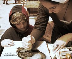 Medieval Living History for all ages, the apprentice learns how to crush ink for his lesson. Medieval Life, Tin, History, Historia, Pewter