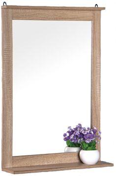Wandspiegel Eiche - Optik 70x50 cm - Badspiegel Spiegel Badezimmerspiegel Holz | eBay