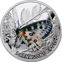 "The second issue in the captivating Butterflies series of silver coins bears the title ""Apollo"" and is dedicated to a beautiful butterfly easily recognized by its lovely coloration, with big black s Rare Coins, Us Coins, Numismatic Coins, Canadian Coins, Coin Art, Gold And Silver Coins, Silver Bullion, Commemorative Coins, Proof Coins"
